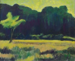 Single Tree (Expressionist Style Landscape of Green Country Field)