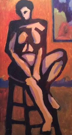 Seated Nude (Abstracted Figurative Female Nude Painting on Panel, Black Frame)