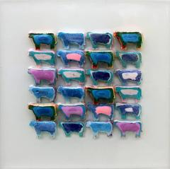 Mellow Cows in Blue (Modern Miniature Grid of Play-Doh Cows)
