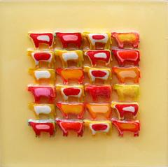 Slurpee Cows in Yellow (Modern Miniature Cow Grid in Red & Yellow)