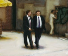 Word on the Street (Realist Figurative Painting of Men in Suits)