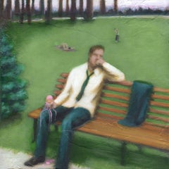 Strawberry (Figurative Painting of Male Sitting on a Park Bench with Ice Cream)