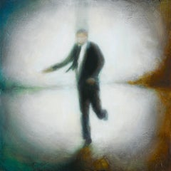 In & Out of Focus (Figurative Painting of Single Male in Business Suit)