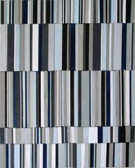 Syncopation, Variation I (Graphic Blue White and Gray 3D Wall Sculpture)