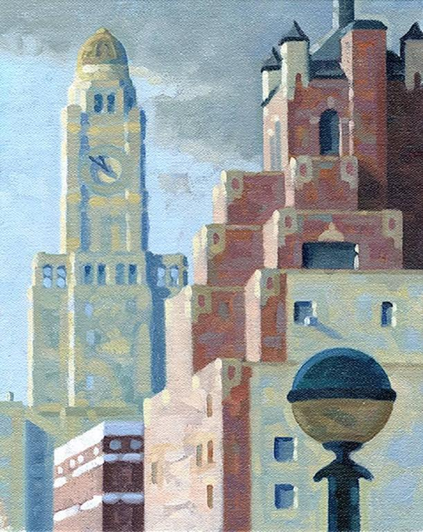 10:50 AM, Study (Small Vertical Cityscape Painting of Williamsburg, Brooklyn)