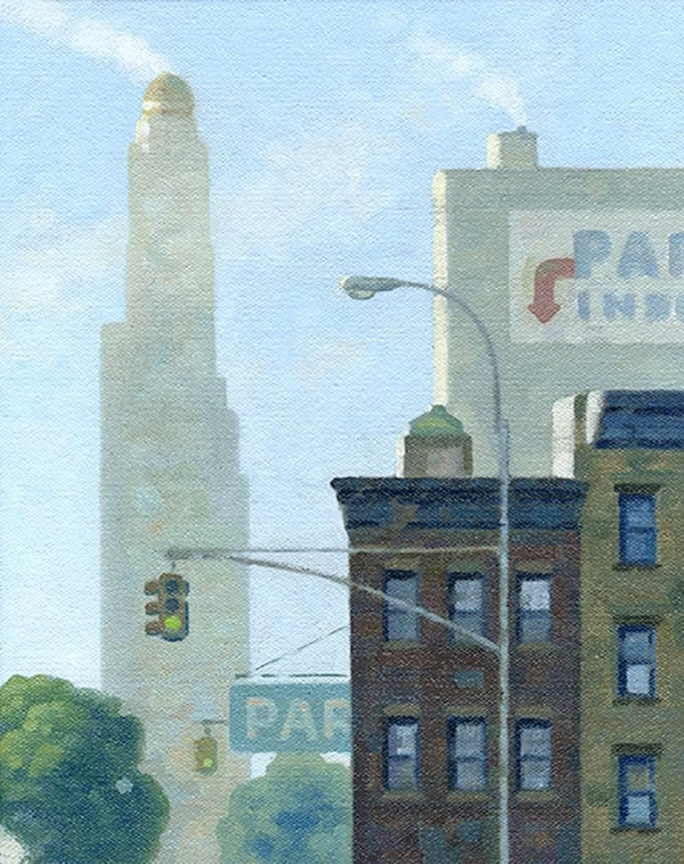 Robert Goldstrom Landscape Painting - Ashland Fog 2, Study (Small Vertical Cityscape Oil Painting of Brooklyn, NY)