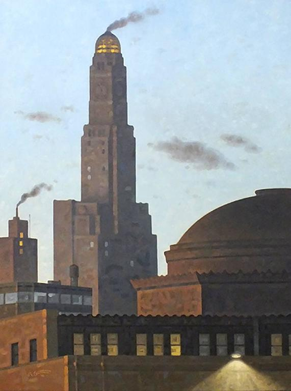 Dime, Pre-Dawn: Large Vertical Cityscape Painting of Industrial Brooklyn