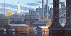East River Panorama I (Large Horizontal Cityscape Painting of Brooklyn, NY)
