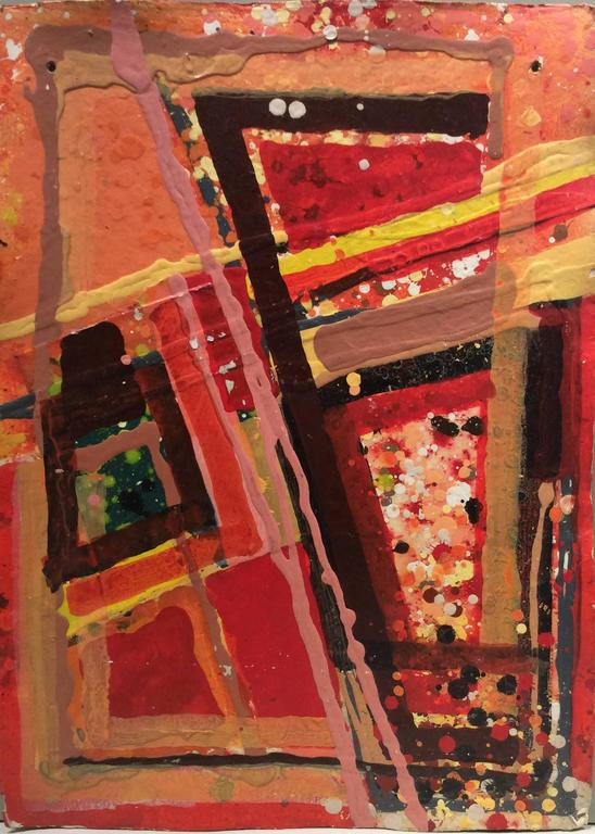 Untitled 301 (Mid-Century Modern Abstract Acrylic on Paper in Red & Orange)