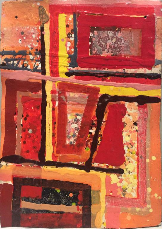 Edward Avedisian - Untitled 302 (Vertical Mid-Century Modern Abstract Painting in Red & Orange) 1