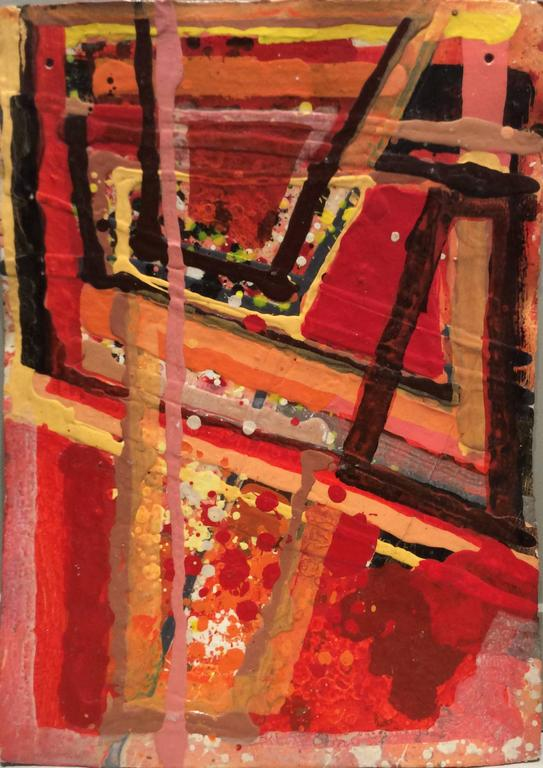 Abstract, mid century modern style painting on paper in red, orange, yellow and black acrylic on thick paper, 32 x 23 inches unframed  This vertical, medium-sized abstract acrylic painting was painted by Edward Avedisian around 1971. Glossy acrylic