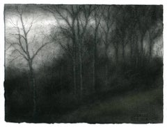 Hillside, Hudson (Realistic Charcoal Landscape Drawing of Trees in a Forest)