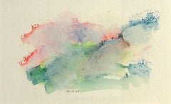 Mountain Study II (Contemporary Abstract Landscape on Paper in Bright Pastels)
