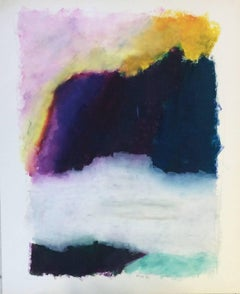 Untitled 065 (Contemporary Abstract Landscape in Bright Pastels on Paper)