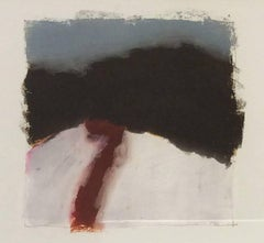 Untitled 080 (Contemporary Abstract Landscape in Dark Black and Blue Oil Pastel)
