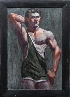 Wrestler in a Green Singlet: Figurative Oil Painting of an Athlete by Mark Beard