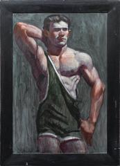 Wrestler in a Green Singlet (Oil Portrait of a Male Athlete)