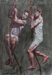 Two Boys Climbing Rope (Oil Painting of 2 Male Athletes)