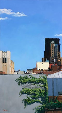Blue Sky Green (Modern Cityscape Oil Painting of Brooklyn Rooftops)