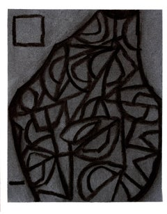 Untitled 1 (Modern Black Charcoal & Gray Abstract Still Life Drawing on Paper)