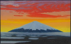 Cotopaxi II (Modern Landscape Oil Painting of Sunset Over Volcano in Andes)