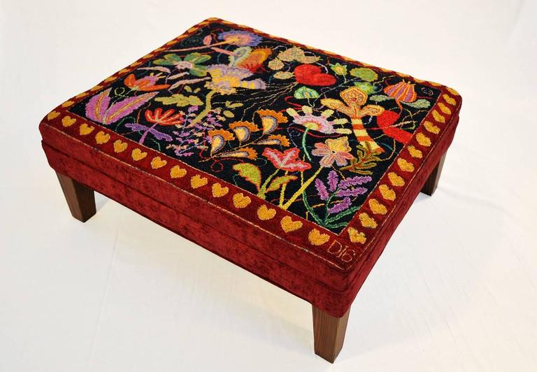 Dale Payson Hearts Hand Hooked Rug Ottoman With