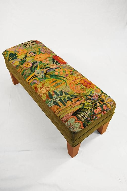 Dale Payson - Sage (Hand- Hooked Rug Ottoman with Olive Green and ...