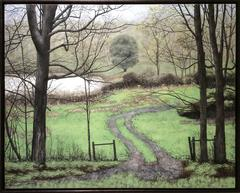 Gesture Waves Us On (Realistic Landscape Oil Painting on Panel of Green Field)
