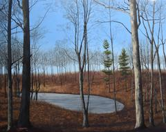 The Three Graces (Realistic Landscape Oil Painting of Forest Pond & Blue Sky)