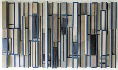 Networking (Abstract Modern 3-D Wooden Wall Sculpture in Blue, Black & Beige)