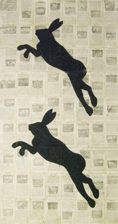 Ancient, Original, Modern Fables with Hares (Graphic Collage with Chalk & Paper)