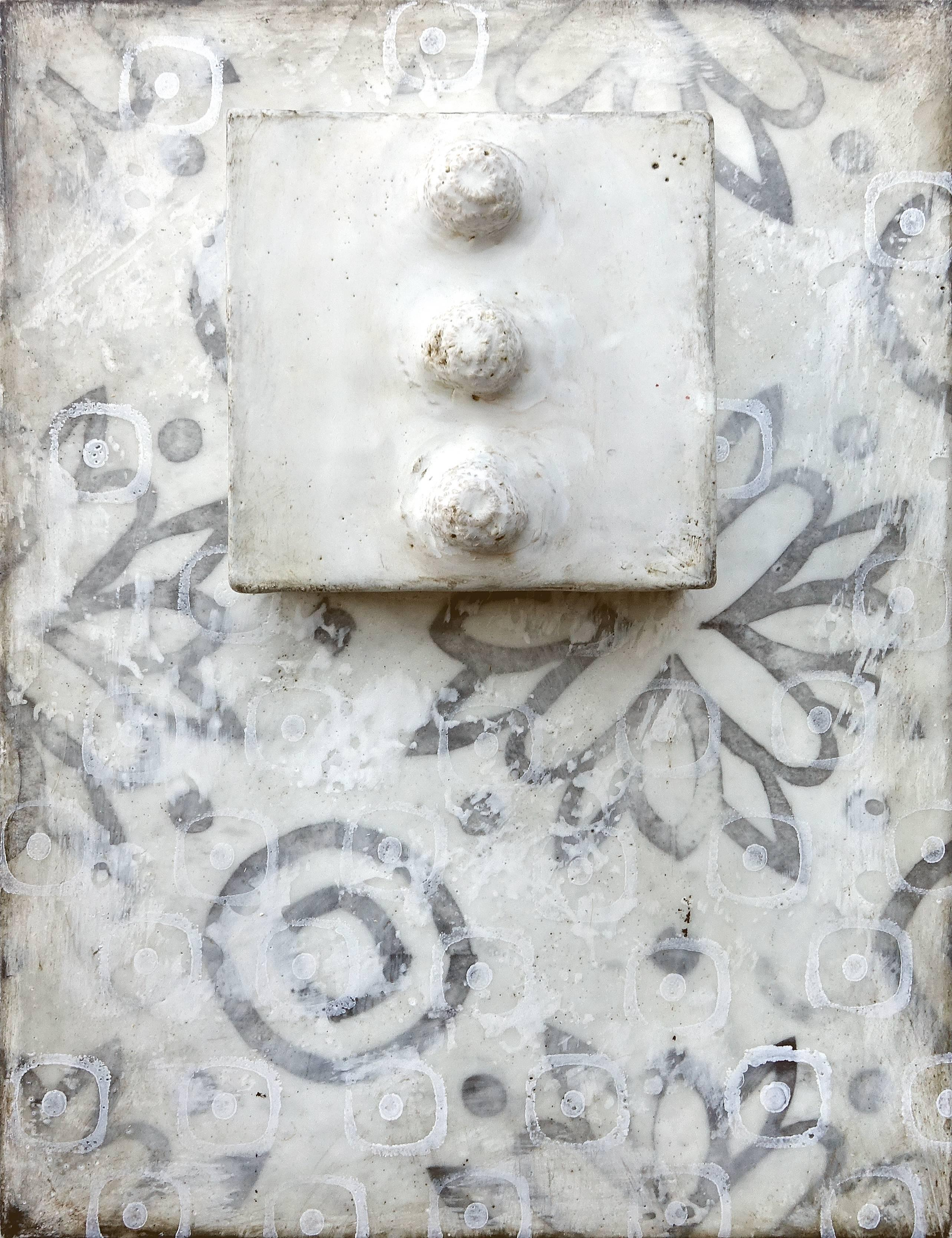Bumps (Abstract Wall Sculpture with Gray Mosaic Pattern & White Encaustic)