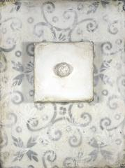 Button (Abstract Wall Sculpture with Gray Mosaic Pattern & White Encaustic)
