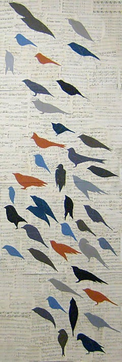 Chorus (Large Vertical Drawing on Paper of Blue, Red, & Black Birds, Framed)