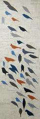 Chorus (Red, Blue, Black Birds drawn in Chalk on Vintage Collaged Sheet Music)