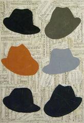 Man Music (Modern Drawing of Orange, Black, Blue, & Grey Fedoras on Sheet music)