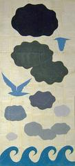 The Forms of Water in Clouds & Rivers with Bluebirds (Chalk Drawing on Paper)