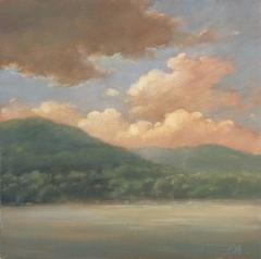 Clouds Rising (Small Oil Landscape Painting of Mountains, Clouds, Sky, & River)