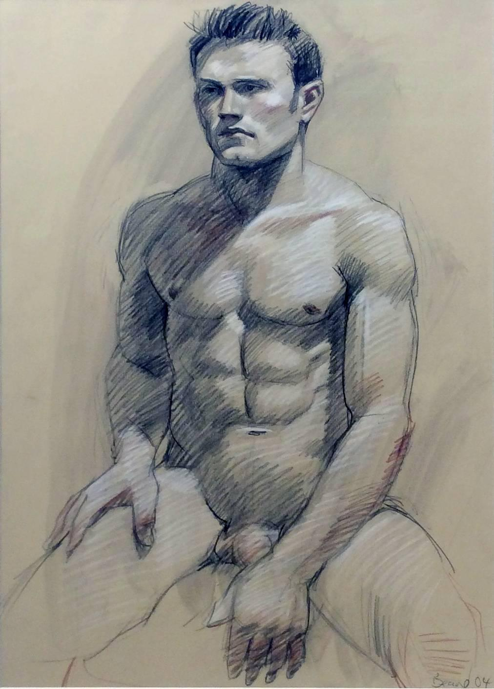 MB 089A (Contemporary Graphite Drawing of Seated Male Nude)
