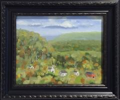 Untitled Mountain Landscape (Small Oil Painting of a Village in Green Mountains)