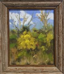 Untitled Fall Landscape (Small Oil Painting of Yellow Foliage, Tree, & Blue Sky)