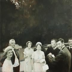 4,5,2 (Black & White Figurative Painting of Vintage 1950's Photograph)