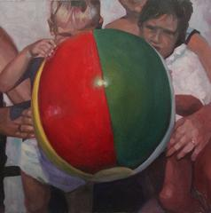 Beach Ball: Modern Figurative Oil Painting of a Vintage Red & Green Beach Ball