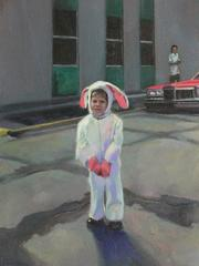 Bunny (Figurative Oil Painting of Vintage Photograph of Child in Bunny Costume)