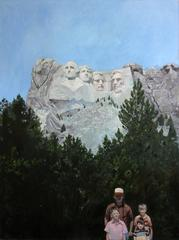 Carved in Stone (Modern Figurative Oil Painting of Family at Mount Rushmore)