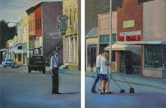 Do the Crime, Pay the Fine (Modern Cityscape Diptych of Photo of Small Town)