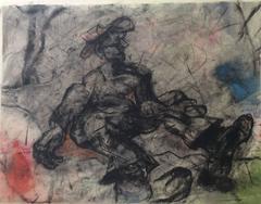 Fallen Figure (Surrealist Drawing of Male Figure in Black & Gray)
