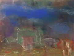 Landscape with House (In Cobalt Blue, Orange and Green)