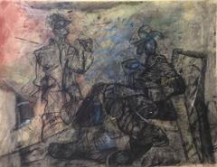Two Figures in Interior (Contemporary Drawing in Conte Crayon on Paper)