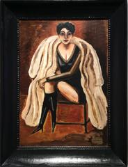 Maggie in Furs (Portrait of a Woman in Evening Ware in Black Antique frame)